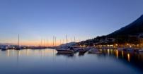 Baska Voda-port po zachodzie słońca.